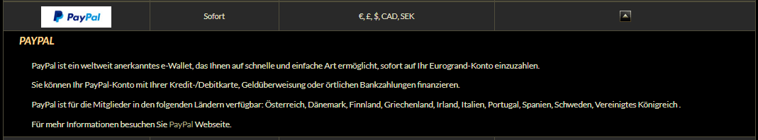 Paypal in Eurogrand