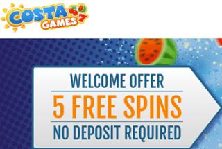 Costa Games Casino bietet 5 Freispiele ohne Einzahlung an!
